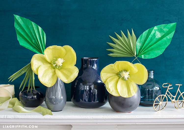 tissue paper hibiscus flowers in vases