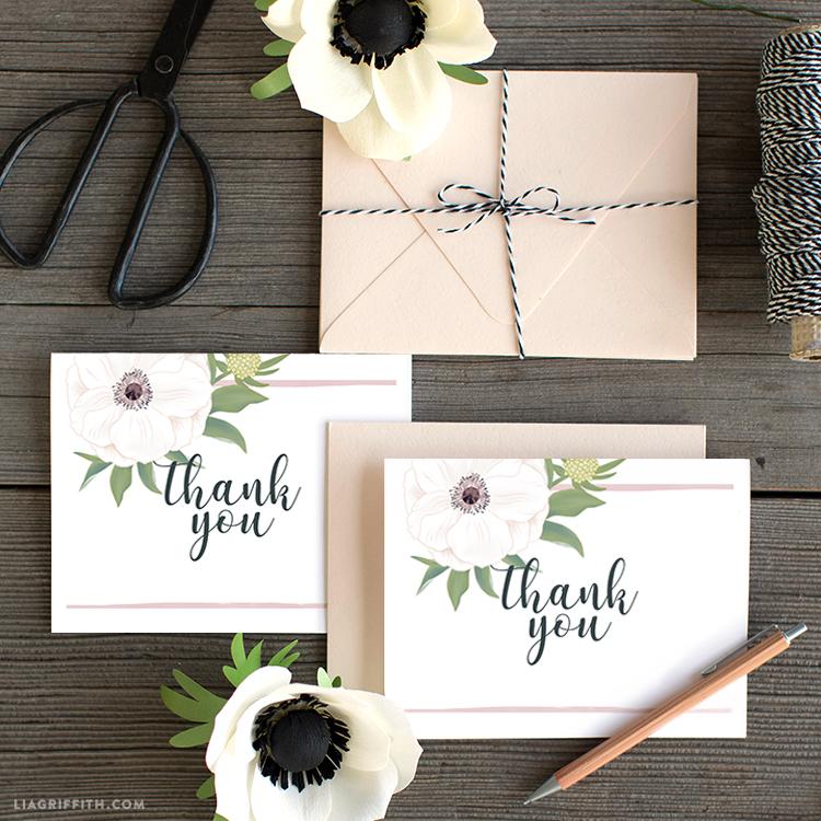 anemone wedding thank you cards