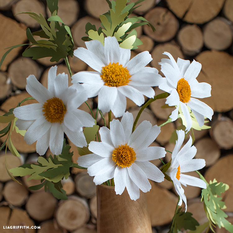 crepe paper daisy flowers in vase