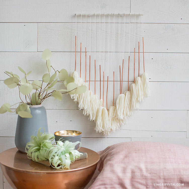 copper and yarn wall hanging