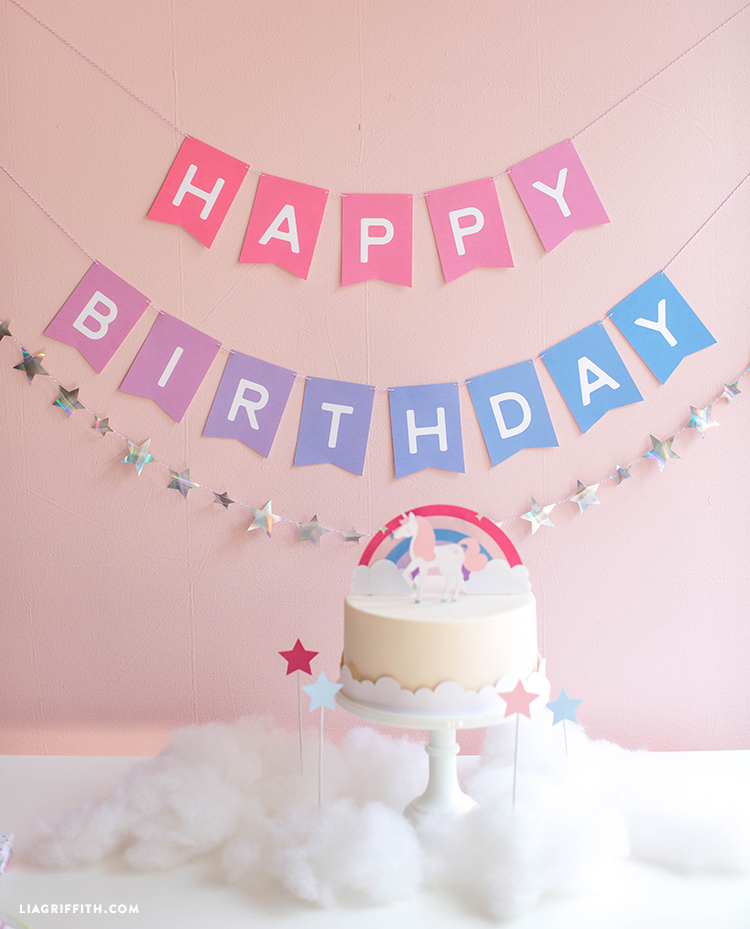 Download And Assemble An Ombre Printable Birthday Banner