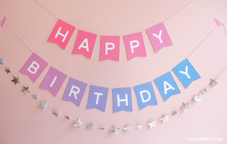 ombre happy birthday banner