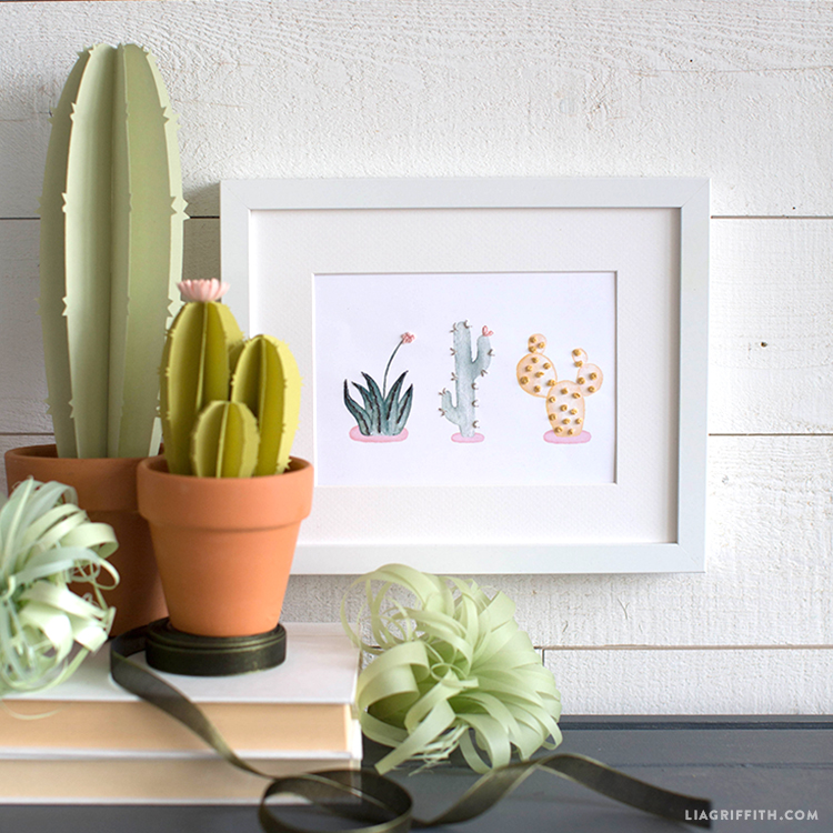embroidered watercolor cactus