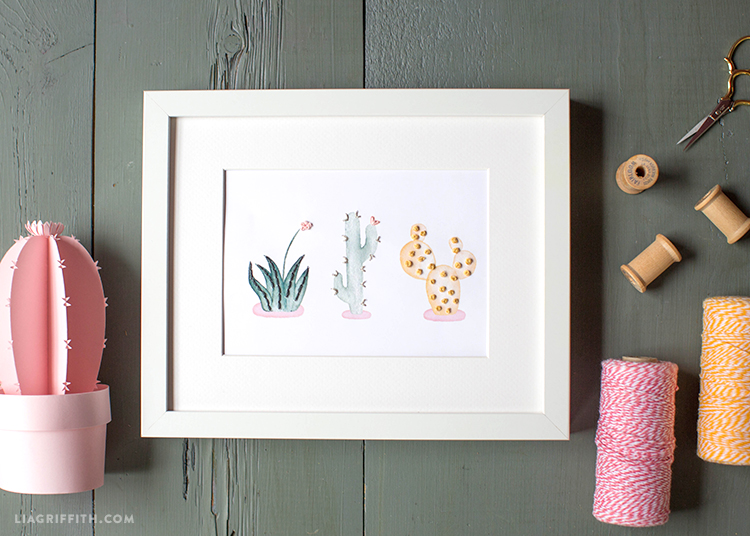 easy embroidered cactus wall art