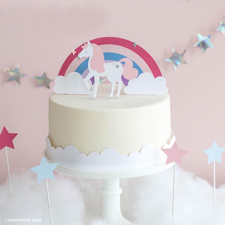 unicorn cake topper and band