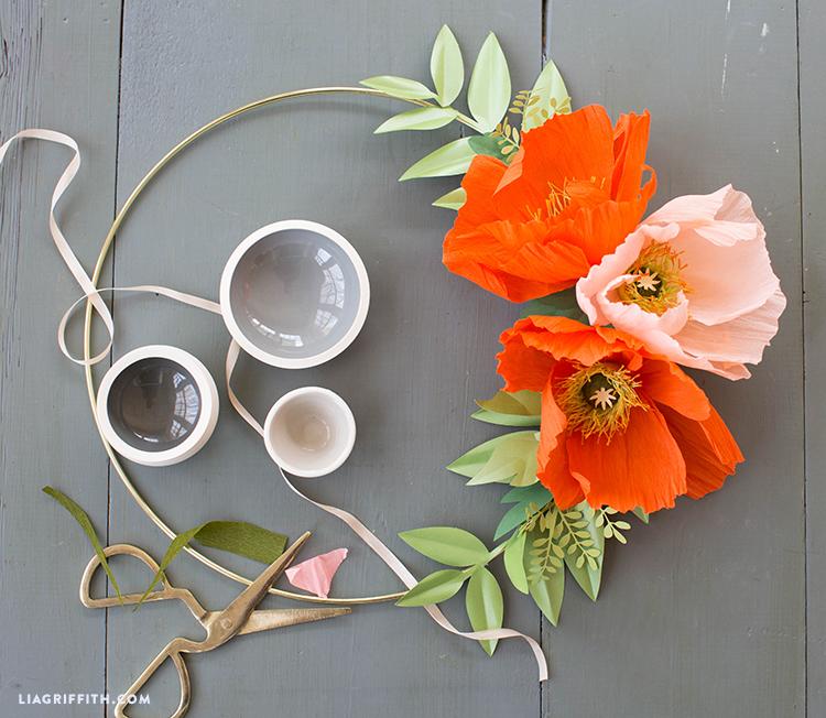 crepe paper poppy wire wreath
