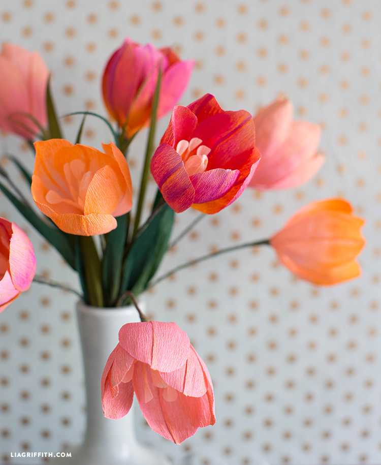 pastel painted crepe paper tulips