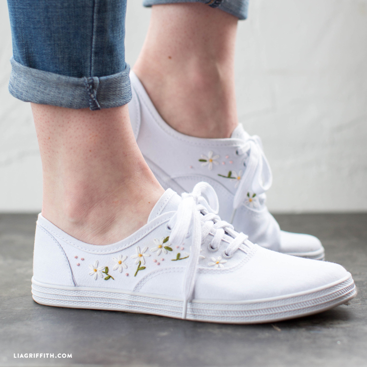 daisy embroidered sneakers