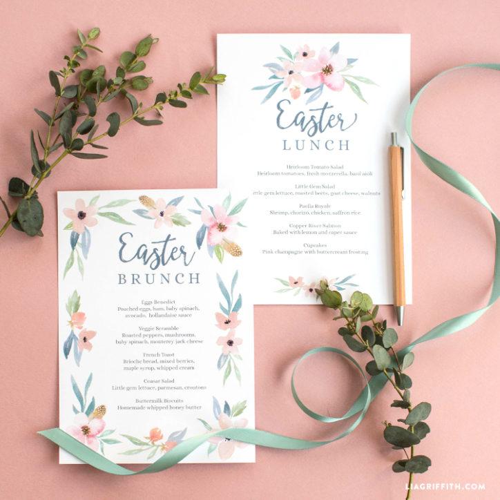 Floral Watercolor Easter Brunch Menu