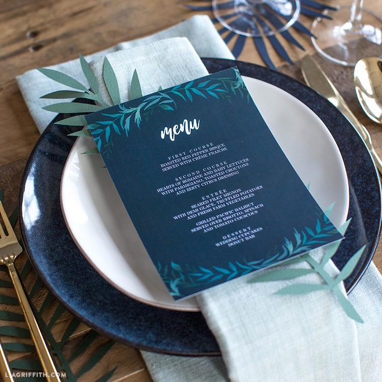 greenery wedding menu