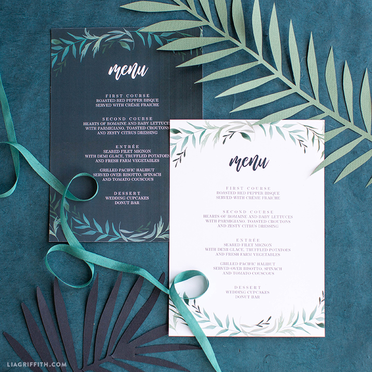 printable wedding menu