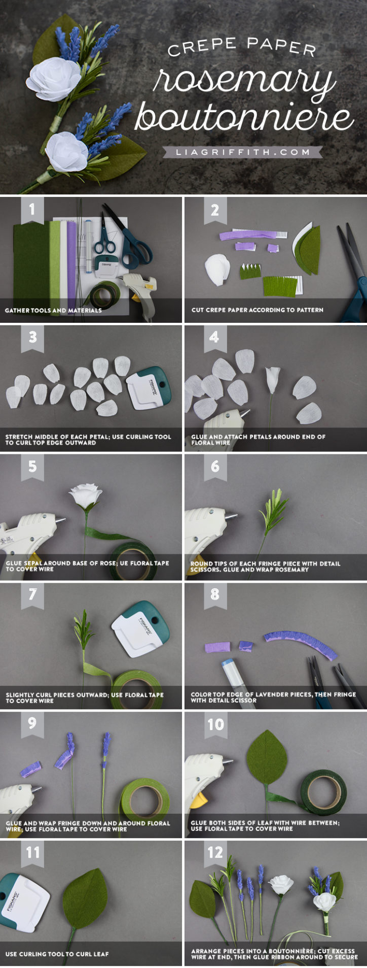 crepe paper rosemary boutonniere tutorial