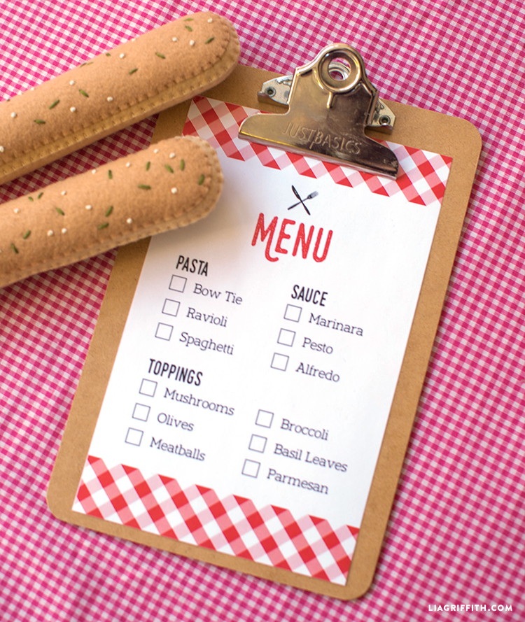 printable play Italian menu