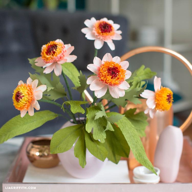 crepe paper zinnia flower