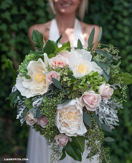 paper peony bridal bouquet