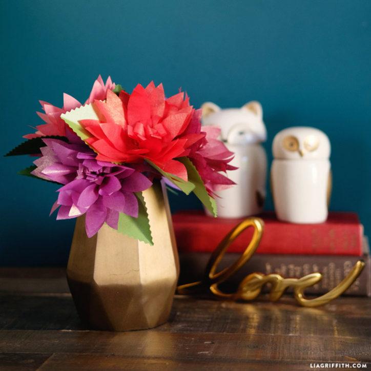 tissue paper dahlias