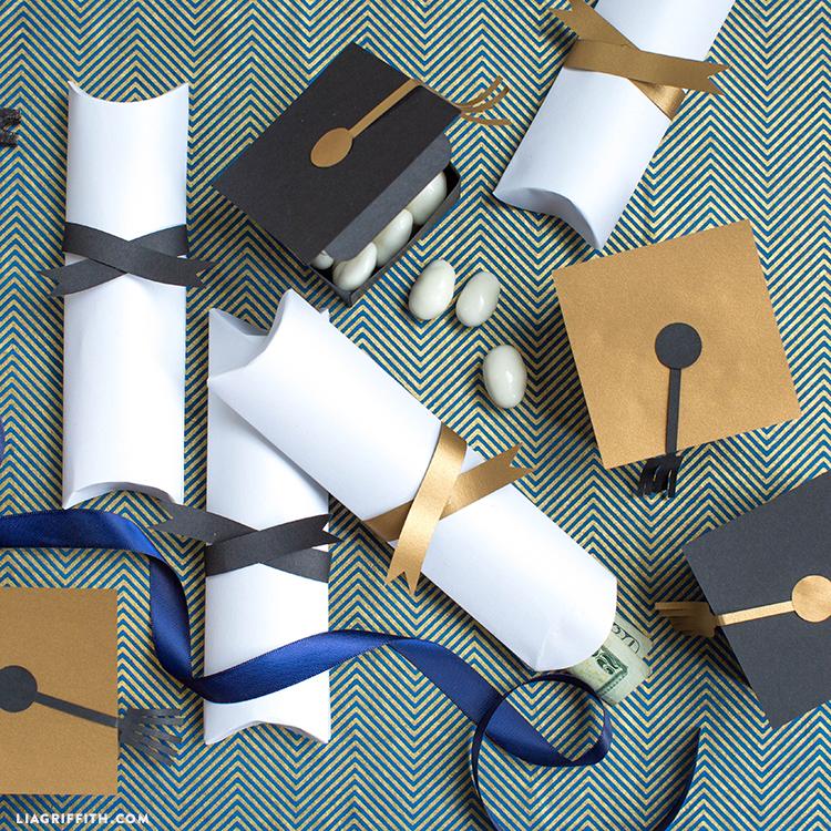 graduation cap and diploma treat boxes