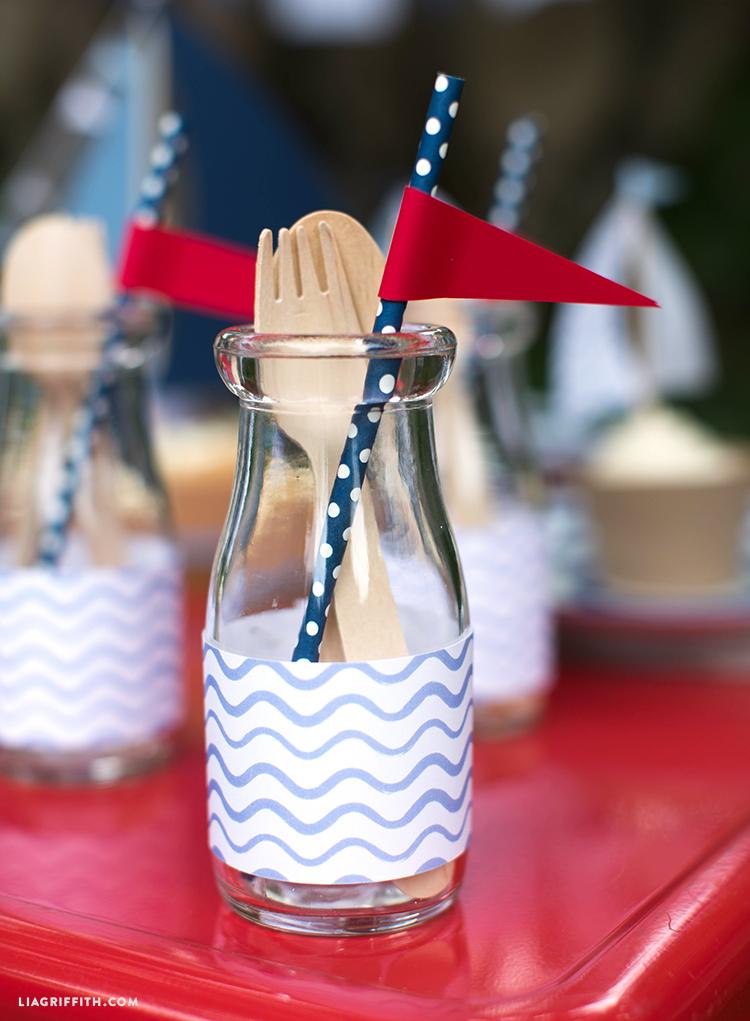 Nautical Decor Straw Toppers & Bottle Wraps