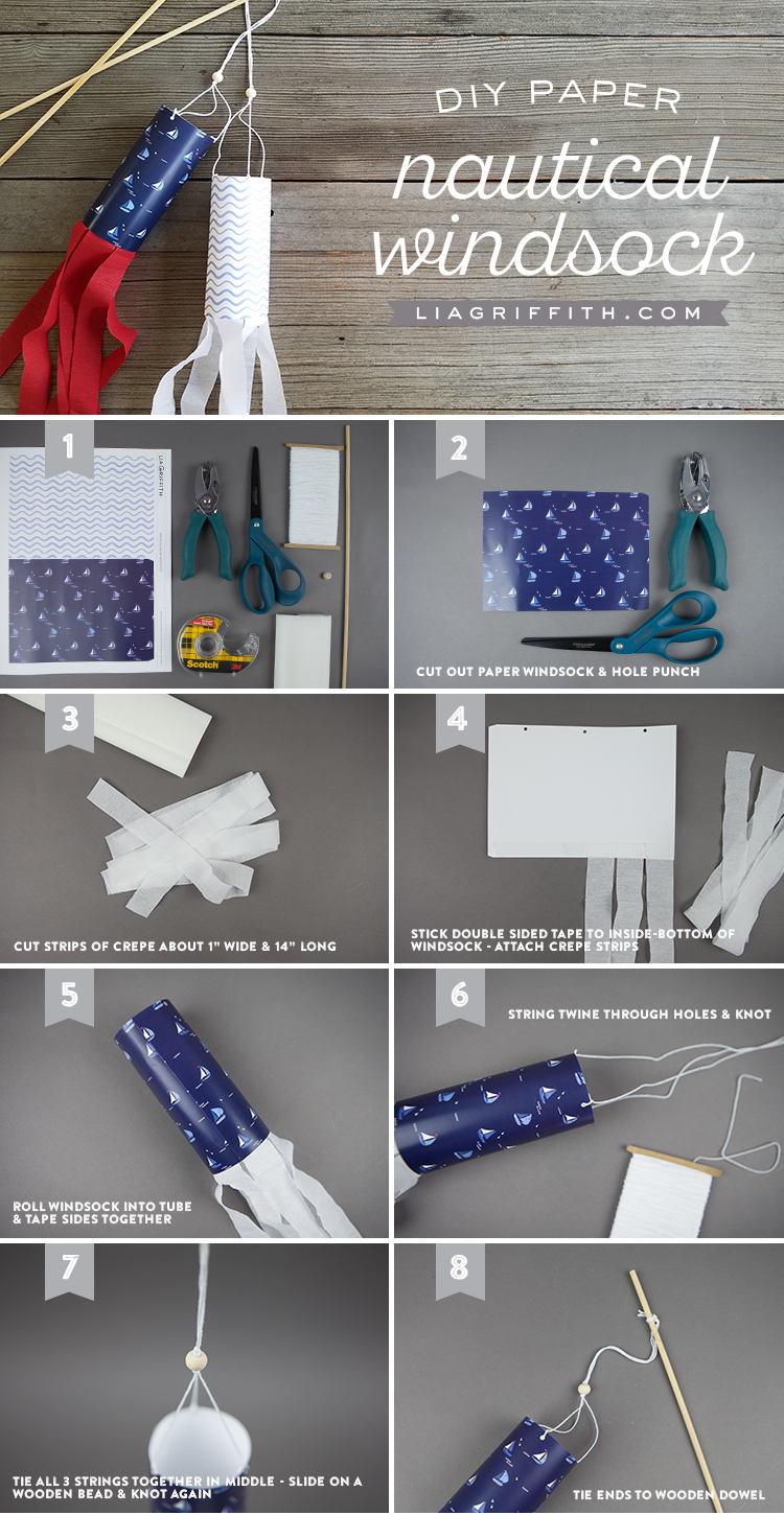 DIY Projects for Kids Paper Nautical Windsock Infographic