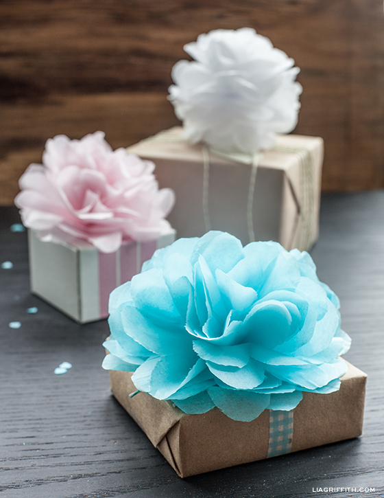 diy tissue pom gift toppers