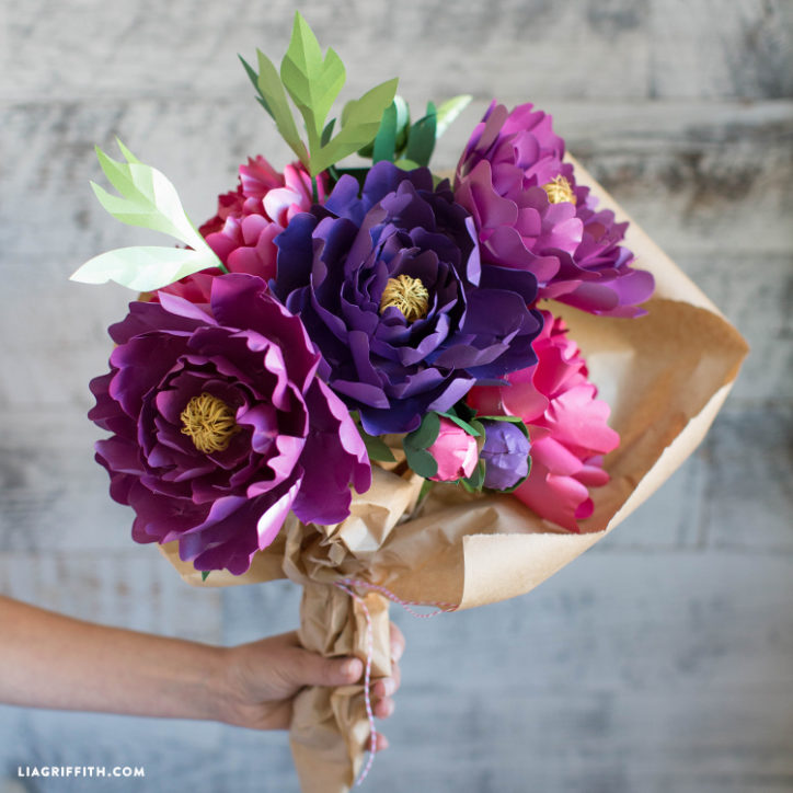 frosted paper peony bouquet