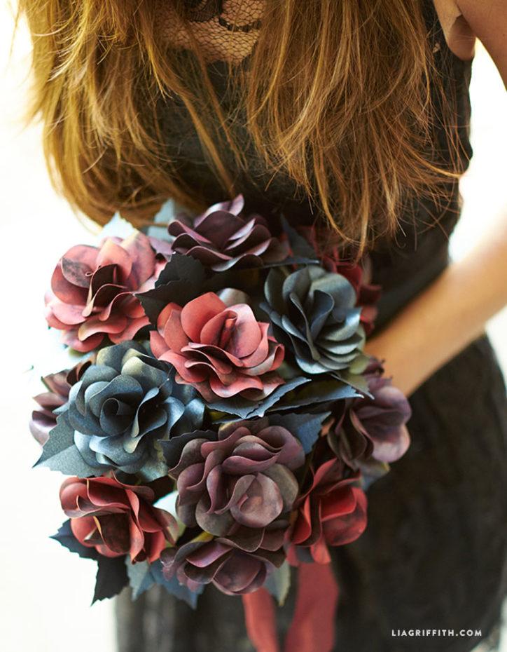 black rose paper flower bouquet