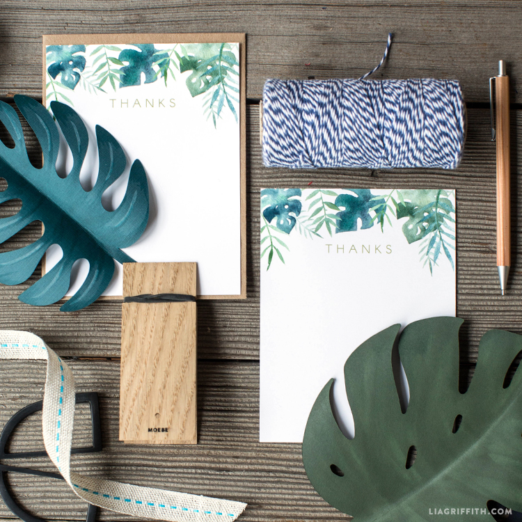 tropical leaves notecards
