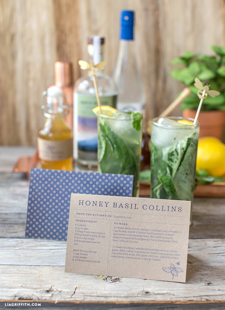 Honey Basil Collins Recipe Card