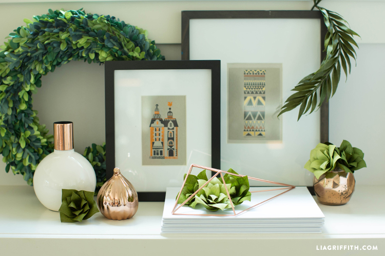 Double-Sided Crepe Paper Succulent Plants
