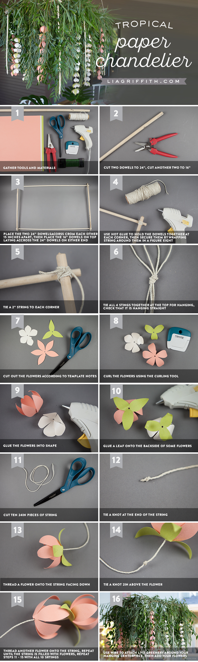 Tropical Paper Chandelier Photo Tutorial