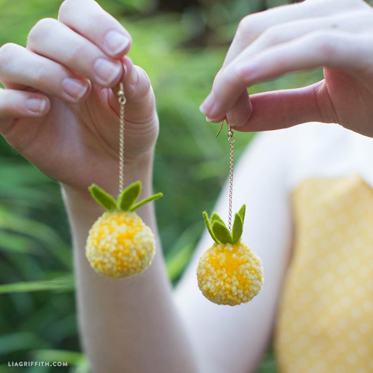 diy pom pom pineapple earrings