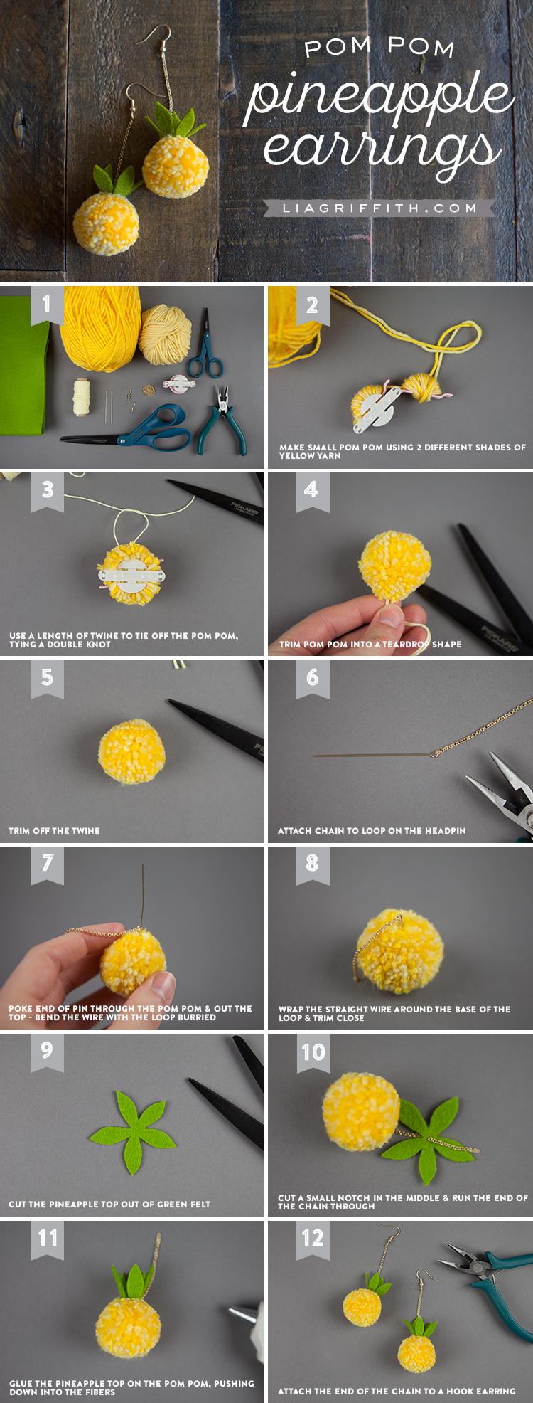 pom pom pineapple earrings photo tutorial