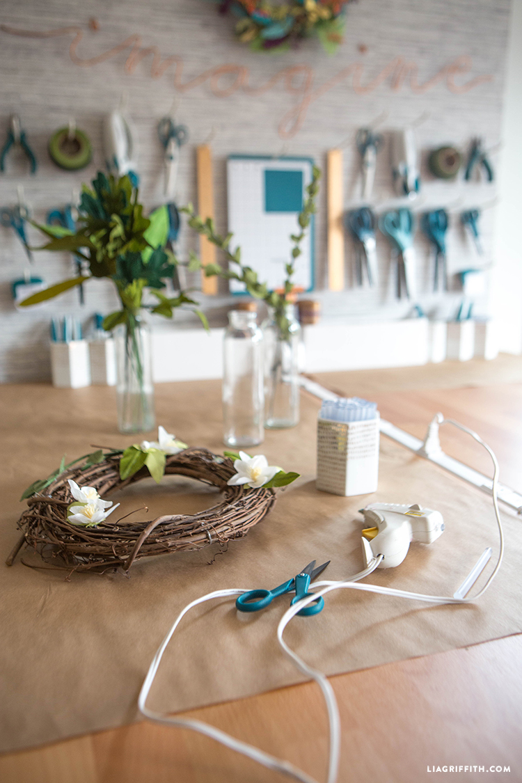 Craft tools and DIY wreath on new craft table