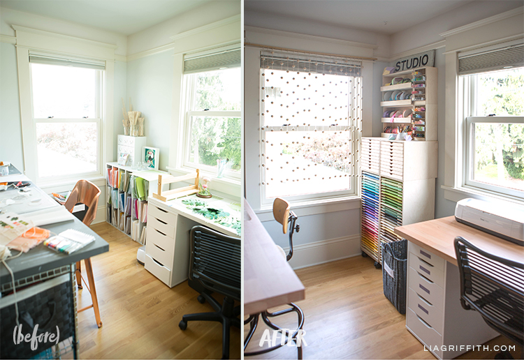 Before and after photo of new craft table, side table, and organizational units for craft paper and other materials