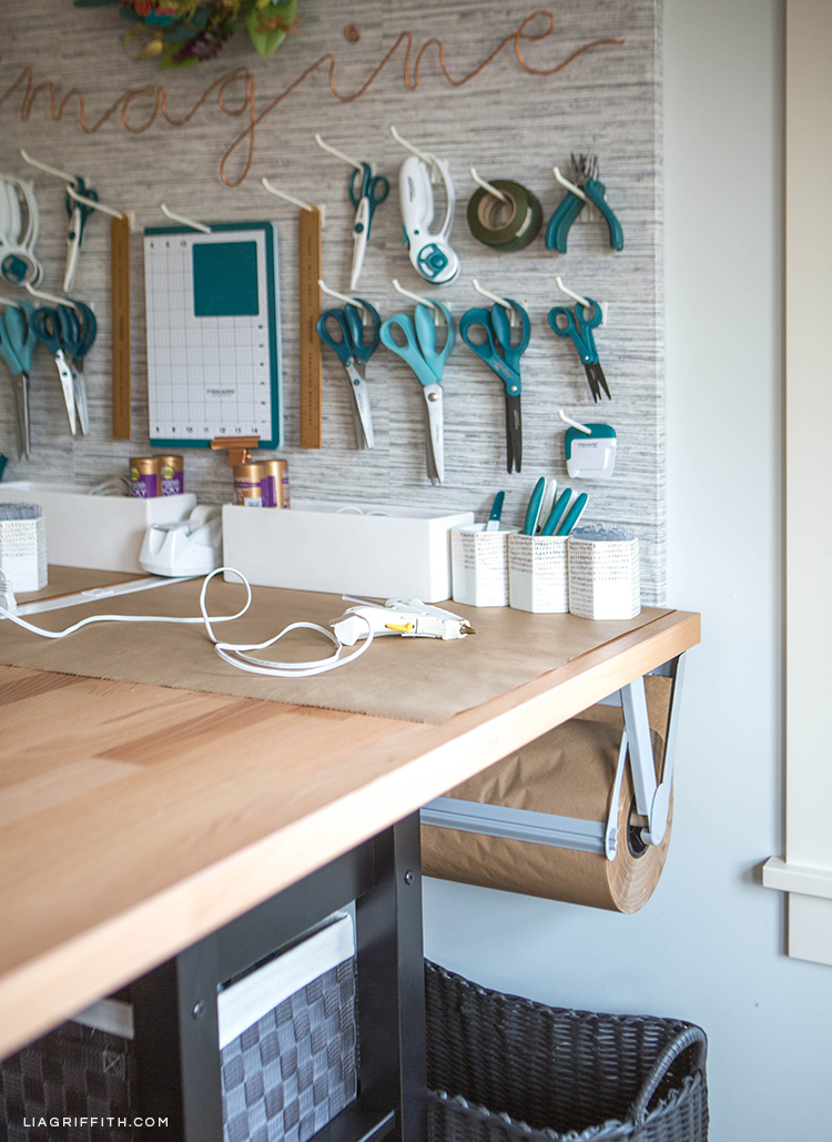 DIY pegboard with craft tools from Lia Griffith and Fiskars