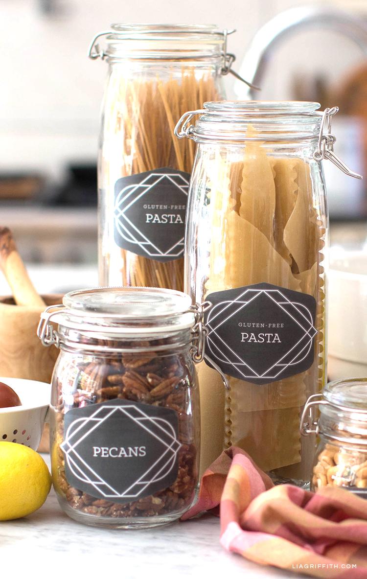 DIY pantry labels for pecans and pasta jars