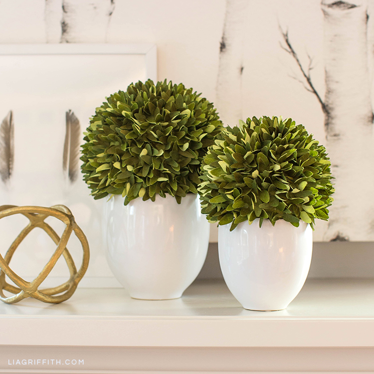 Lia Griffith double-sided crepe paper boxwood topiary plants on mantel