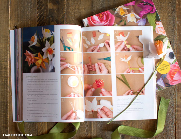 Steps for making a daffodil paper flower