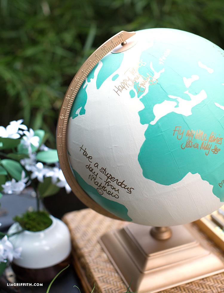 Signed globe guest book