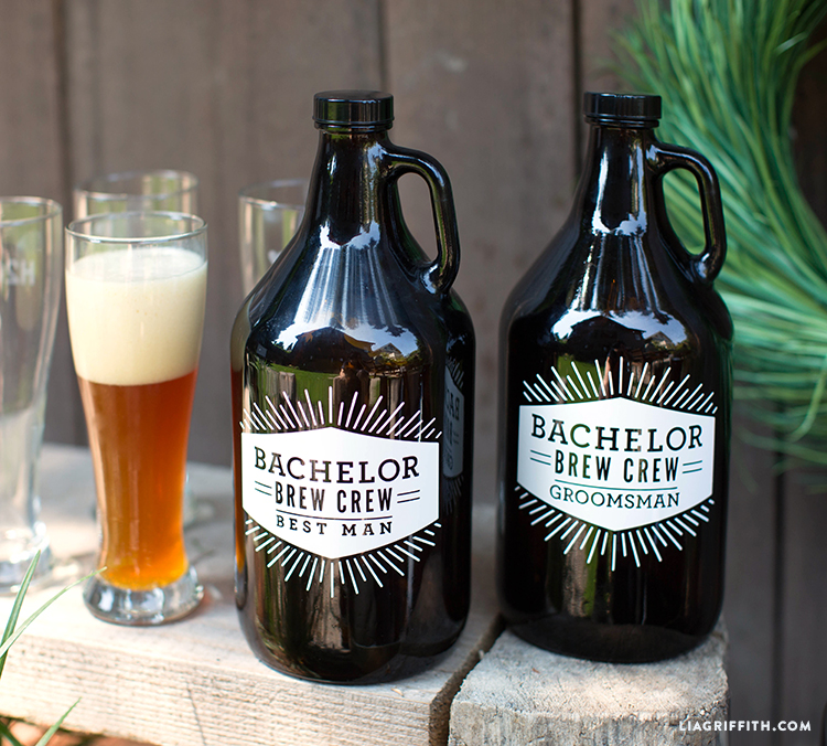 Two growlers next to a beer