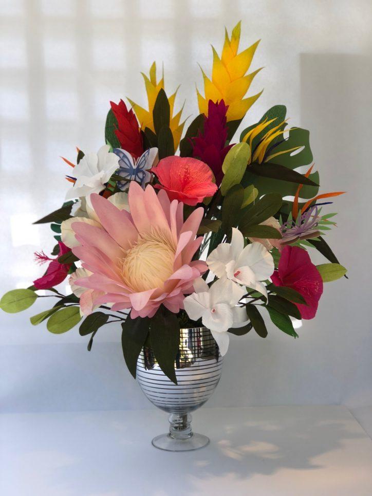 Tropical paper flower bouquet by Susan Bonn
