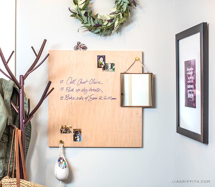 Dry erase board from Loma Living and DIY entryway ideas