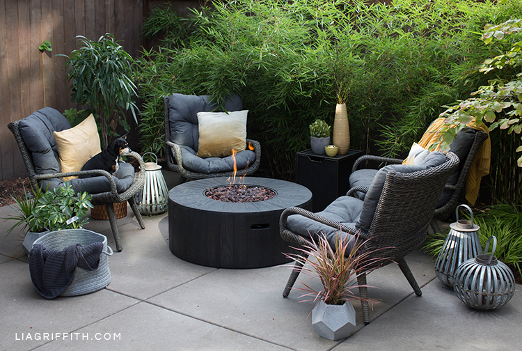 Outdoor fire pit from Hayneedle with wicker seats, saffron pillows, plants, and dog on chair