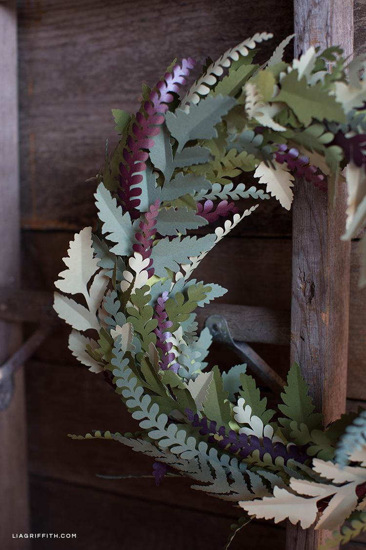 DIY paper fern wreath on wood door