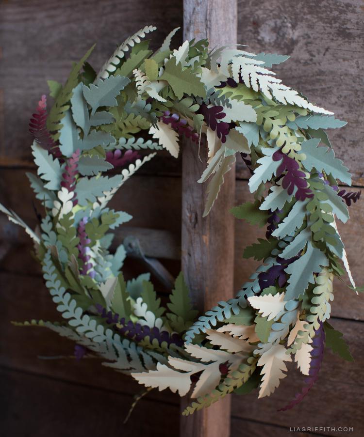 DIY fall wreath on wood backdrop