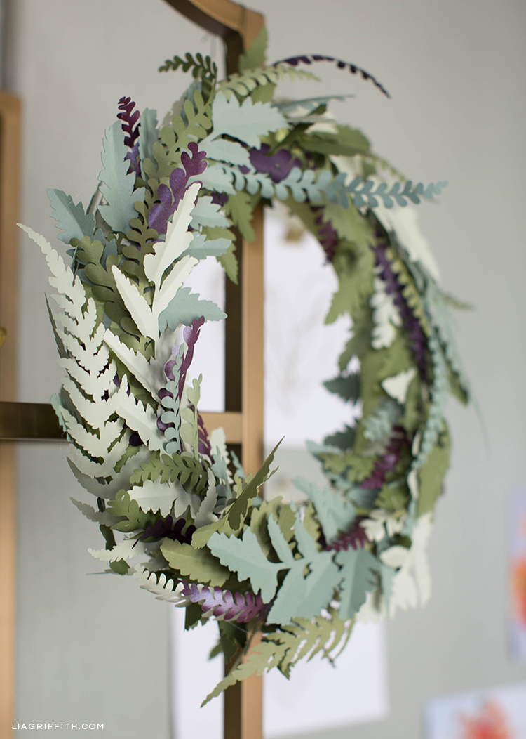 Paper fern wreath as fall decor