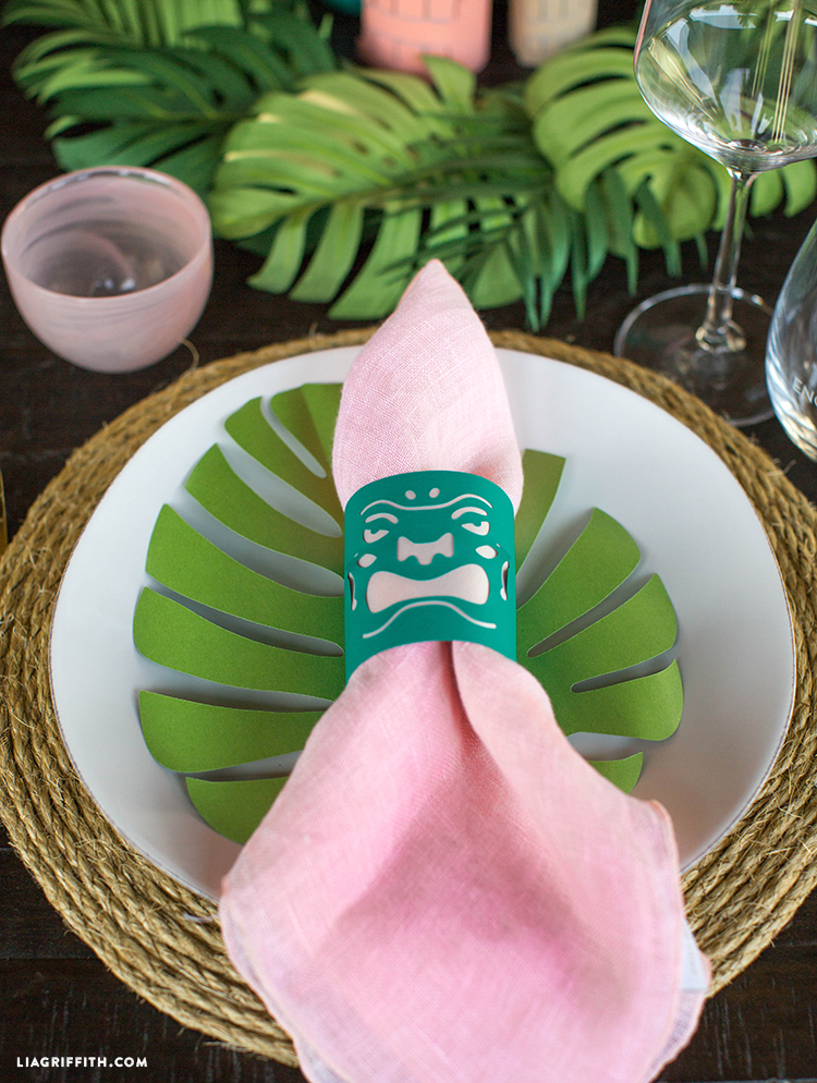 Close-up of paper napkin ring on plate