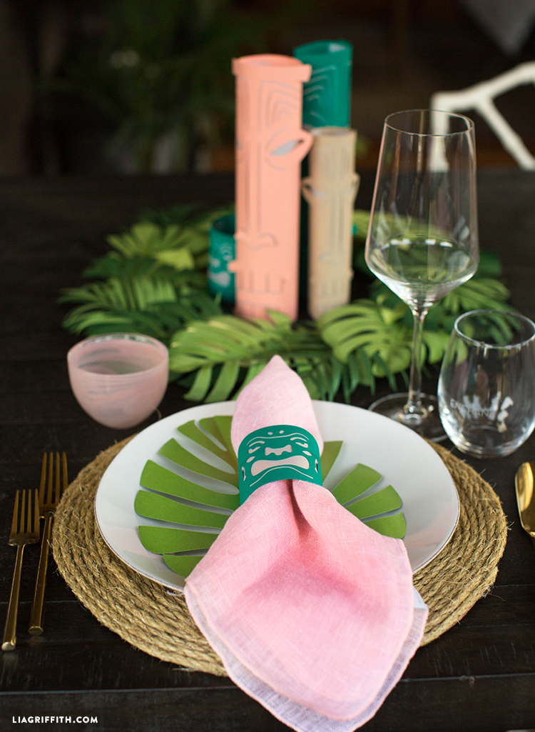 Using paper tiki lanterns as napkin ring and as table centerpiece