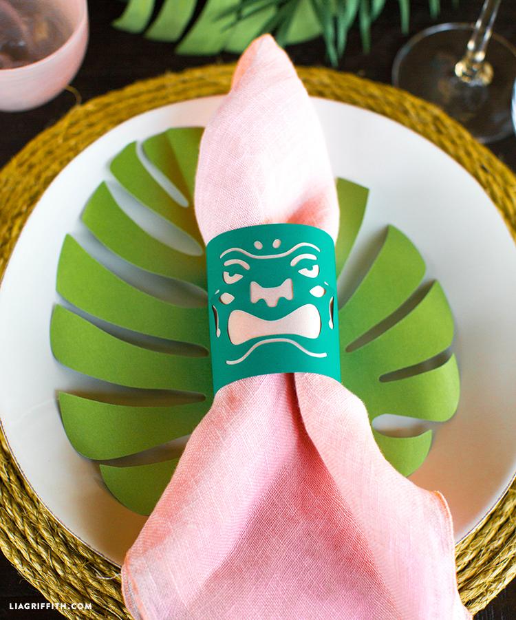 Using small paper tiki lanterns as napkin rings