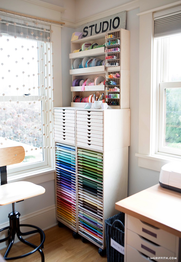 Ribbon shelf and stacked marker holder on top of drawer cabinet and three-tier paper holder from Stamp-n-Storage